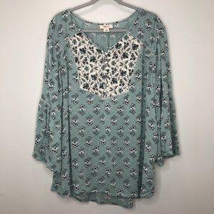 Style & Co. aqua boho blouse, sz L